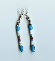 Turquoise/Ivory Bead Earrings - EAti