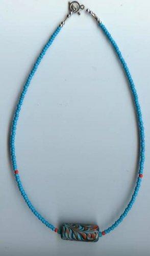 Turquoise/Orange Bead Necklace - EAto