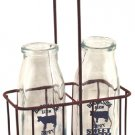 Vintage Glass Cream Bottles w/ Carrier - G25802
