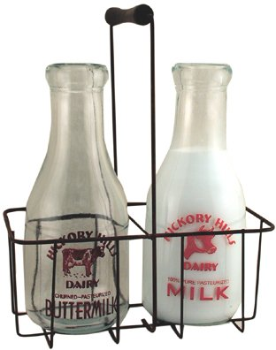 Vintage Glass Milk Bottles w/ Carrier -CWG25739