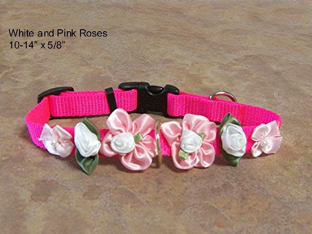 Pink & White Satin Roses Dog Collar- BTpw