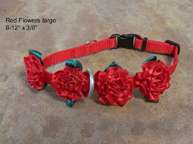 Red Flowers Wide Dog Collar - BTrfw