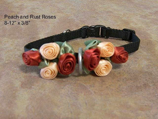 Peach & Rust Satin Rose Dog Collar - BTpr
