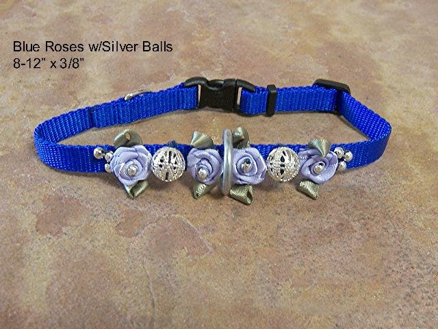 Blue Satin & Silver Dog Collar  -BTbss