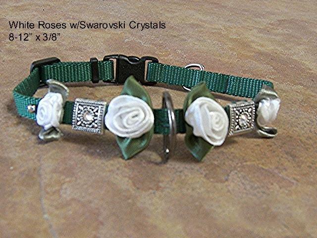 Satin Roses & Crystals Dog Collar - BTsrc