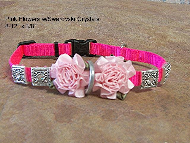 Pink Satin Roses & Crystals Dog Collar - BTpsr