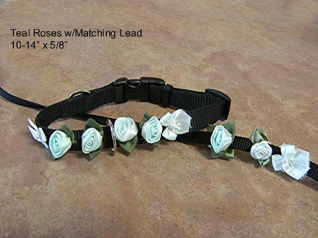 Teal Satin Roses Collar w/ Matching Lead - BTtcl