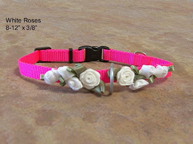 White Roses and Hot Pink Collar - BTwpc