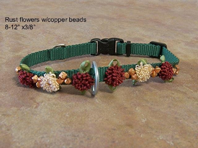 Rust Flowers & Copper Beads on Green Collar - BTrfg