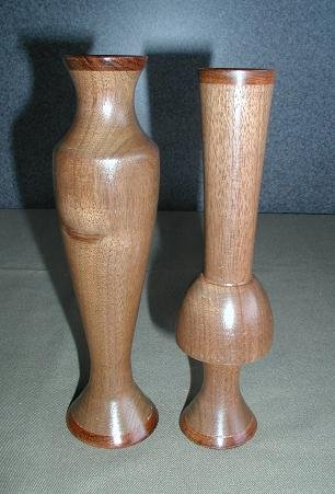 Mahogany/Cherry Wood Vase Set - WAmc