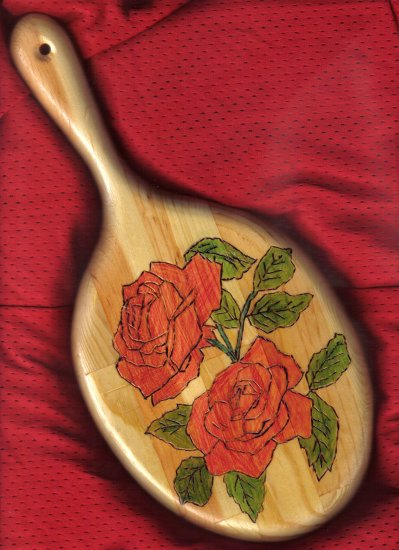 Red Rose Design Wood Mirror - JWrr