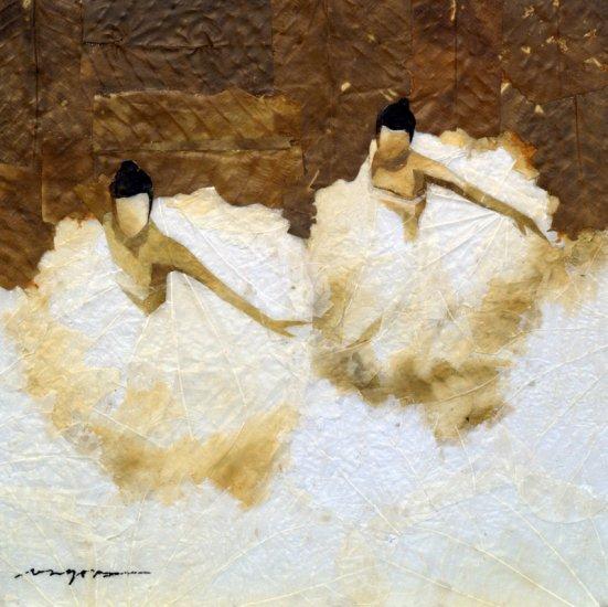 Two Ballerinas Leaf Painting - MEba
