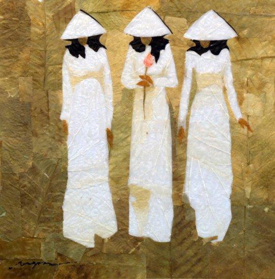 Three School Girls Walking Leaf Painting - MEgw