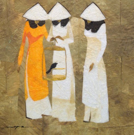 Three School Girls and Bird Leaf Painting - MEgb