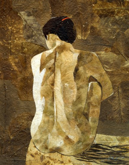 Nude Woman on Water Leaf Painting - MEnw