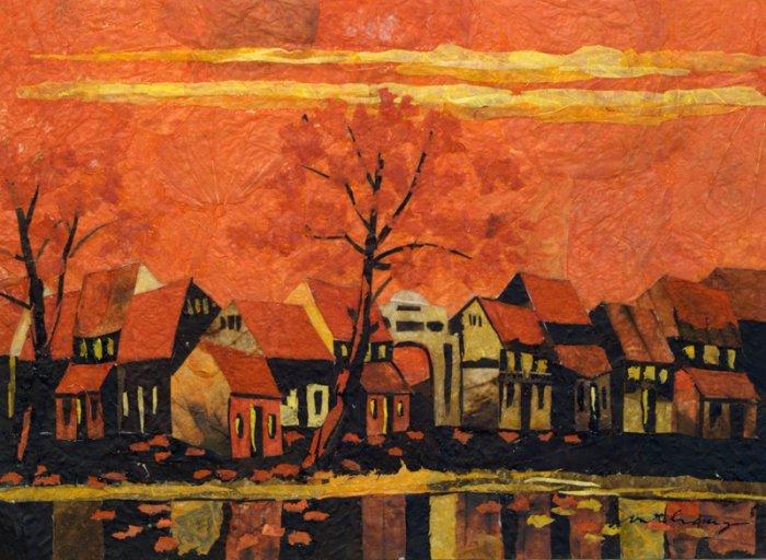 Red Nightfall Leaf Painting - MErn