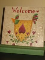 Welcome Chicken Tile - Large - PJwcx