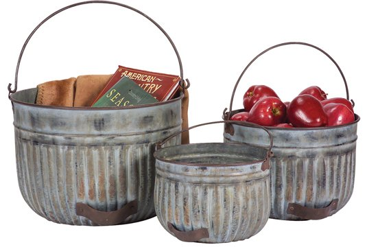 Antique Reproduction Apple Buckets - 3/Set - CWG107636