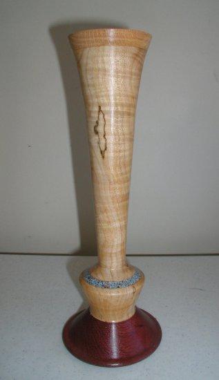 Striped Maple Purple Heart Base Vase - WAph