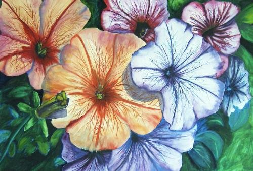 Watercolor Petunias Print - NWpfp