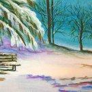 Snowy Park Bench Print - NWsbp