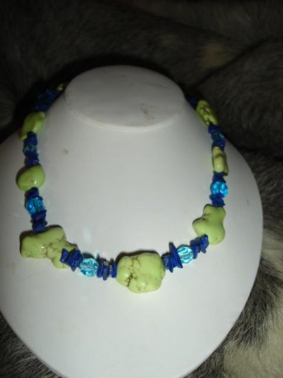 SALE! Lime Turquoise & Blue Crystal Necklace - CGli