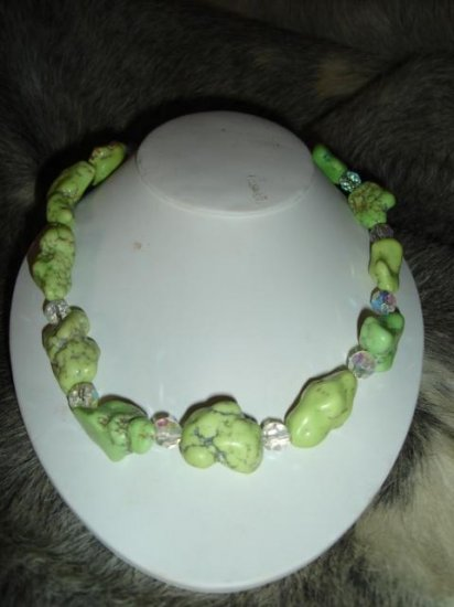 SALE! Chunky Lime Turquoise Necklace - CGlt