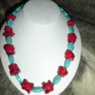 SALE! Turquoise and Red Coral Necklace - CGsb
