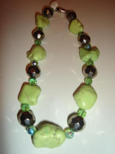 Lime Turquoise & Chrome Ball Necklace Set - CGcb
