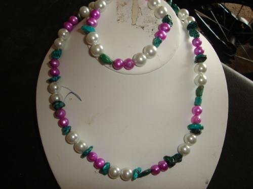 Pearland Turquoise Bracelet & Necklace Set - CGpl