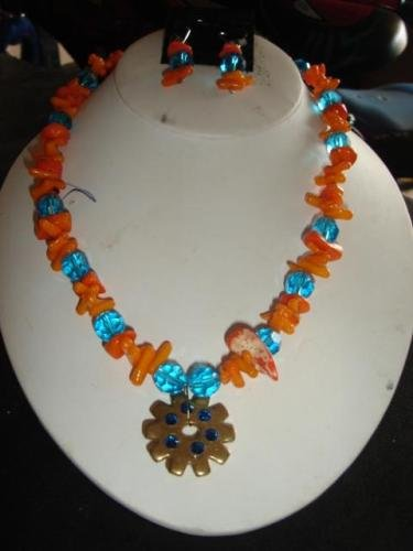 Orange Coral & Blue Beads w/ Spur Rowel Necklace Set - CGoc