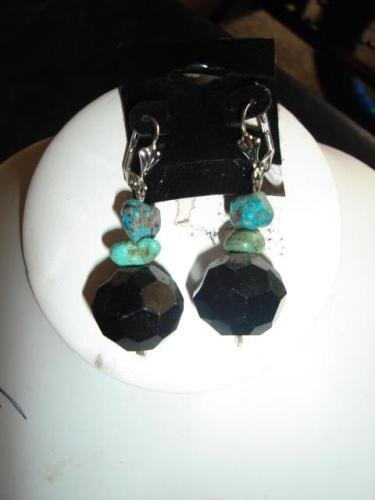 Turquoise & Black Ball Earrings - CGbb