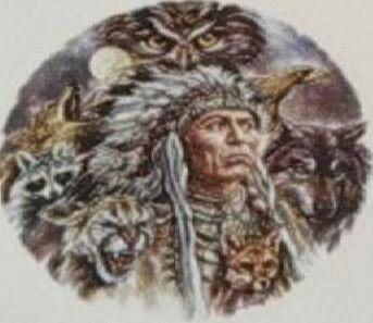 Native American Indian Chief with Animals Dreamcatcher/Suncatcher - SGan