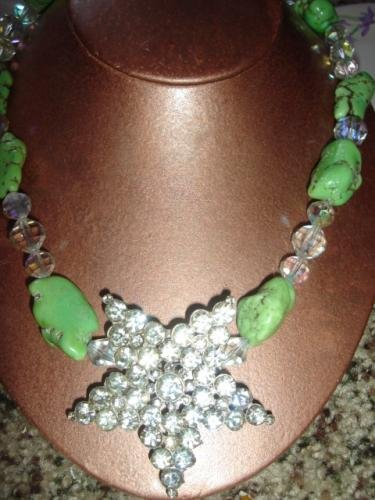 Lime Turqoise Necklace w Swarovski Crystal Star Pendant - CGsp