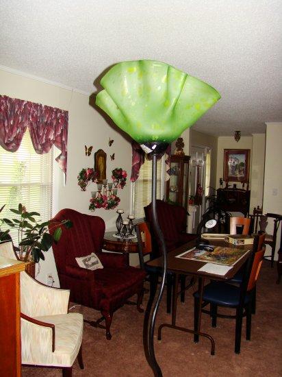 Green Hand-Blown Glass Floor Lamp - MXgl