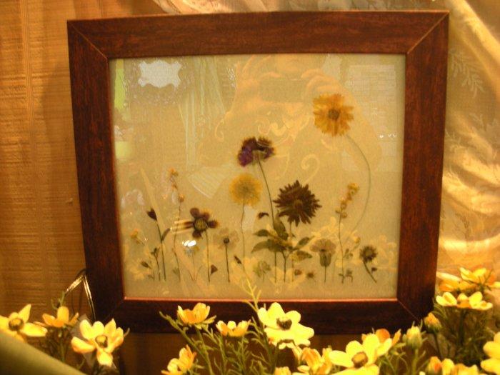 Cherry Frame with Pressed Garden Scene - CRgs