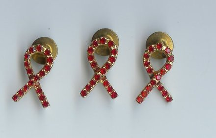 Ribbon Bows With Red Rhinestones - EArb