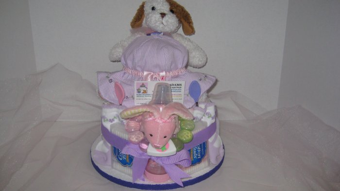 1 Tier Baby Girl Diaper Cake - TH1tg12
