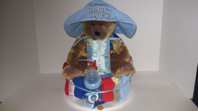 1 Tier Baby Boy Diaper Cake - TH1tb12