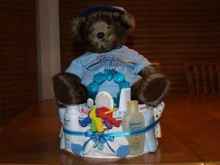 2 Tier Baby Boy Diaper Cake with Teddy Bear - TH2tbt