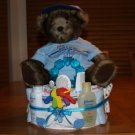 2 Tier Baby Boy Diaper Cake with Teddy Bear - TH2tbt