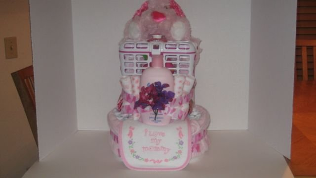 2 Tier Baby Girl Camoflauge w Puppy Diaper Cake - TH2tgp