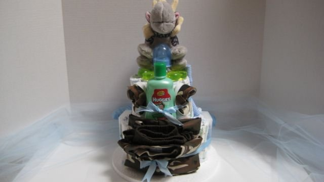 2 Tier Baby Boy Mini Diaper Cake - TH2tbm