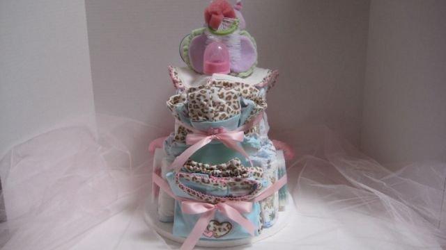 2 Tier Baby Girl Diaper Cake - TH2tg
