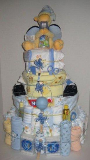4 Tier Baby Boy Basket Diaper Cake - TH4tbb