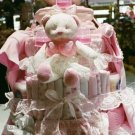 4 Tier Baby Girl Basket Diaper Cake - TH4tbg