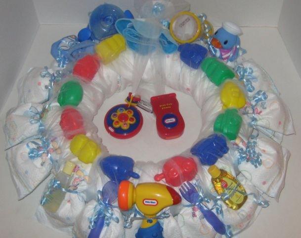 Small 1 Year Old Boy Diaper Wreath  - THsbw