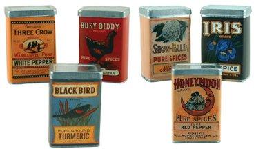 Vintage Spice Tins - 6/Set - CWG22818