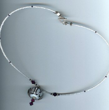 Red Violet & White Glass Bead Necklace - EArvn