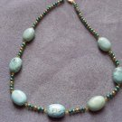 Turquoise with Gold Tone Pearls Necklace  - DZgp